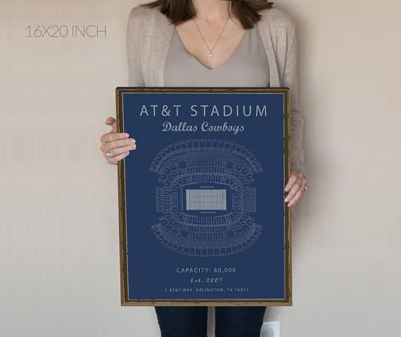 AT&T Stadium Fine Art Print  This vintage design of AT&T Stadium Field is printed on 100% Cotton Fine Art Paper. The texture of the print is smooth and has a chalky finish to it. The smooth matte texture shows off the vibrant colors of the print without the sheen of photo prints. Youll have to purchase a frame as one is not included with the print.   Interested in other stadiums, check out our selection or message us for a custom order, we design new stadiums free of charge https:&#x2...