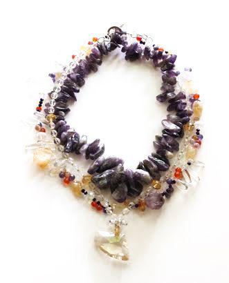 Triple-Strand Necklace: Glass Beads, Swarovski Brio Letters, Raw Amethyst Chunks, Raw Citrine Chunks, Clear Quartz Points
