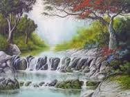 Resultado de imagen para paisagens com cachoeiras em pintura