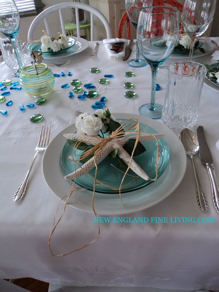 Beach Table Setting Ideas | After Cutting Some Of The Roses Off The Stem, I