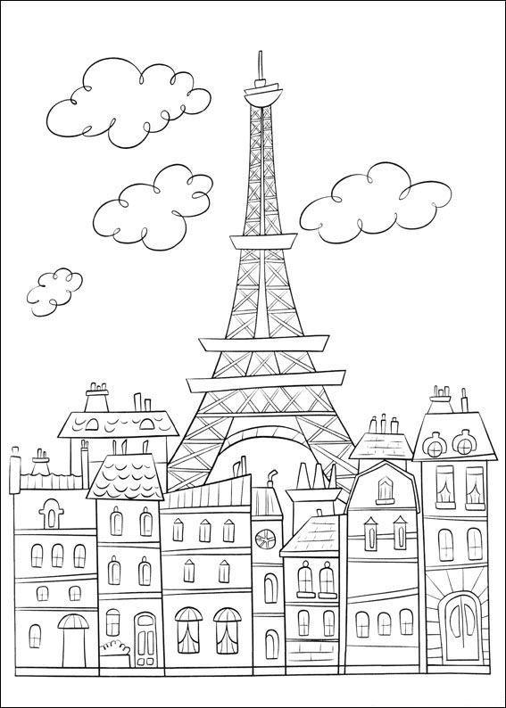 Kleurplaat Ratatouille: Parijs en de Eiffeltoren