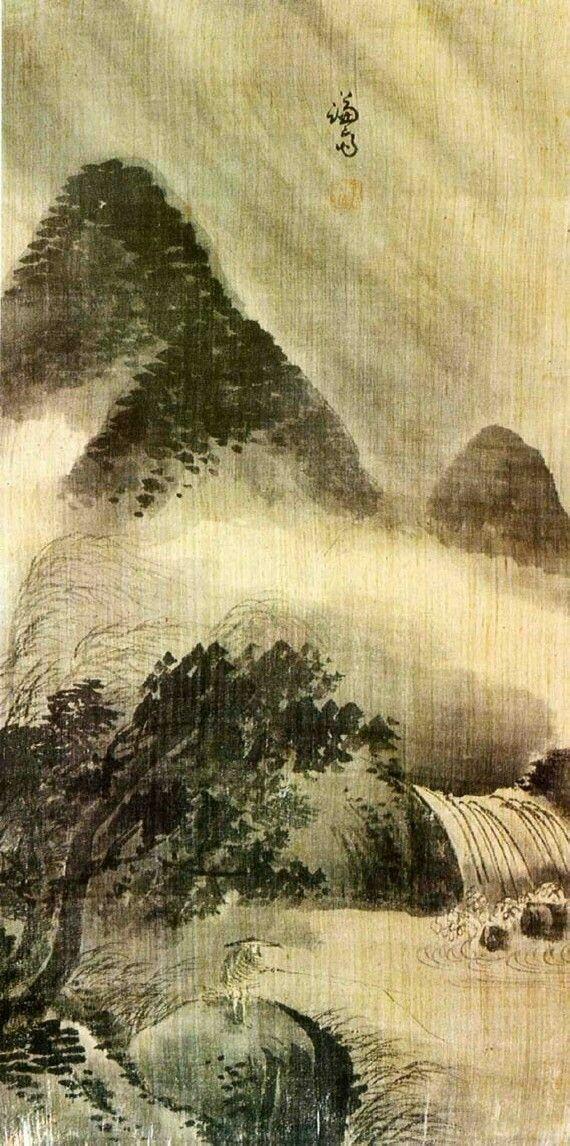 (Korea) Fishing by Gyeomjae Jeong Seon (1676- 1759). ca 18th century CE. color on paper.