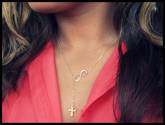 Gold Cross and Infinity Lariat, Cross Lariat, Gold Necklace, Bridesmaid Necklace, Gift Necklace