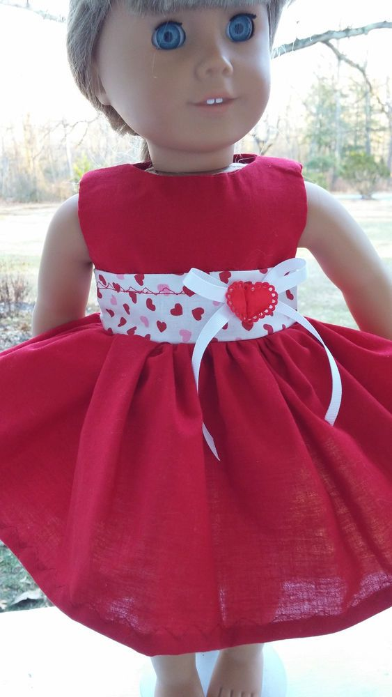 american girl doll clothes valentine dress red tiny hearts