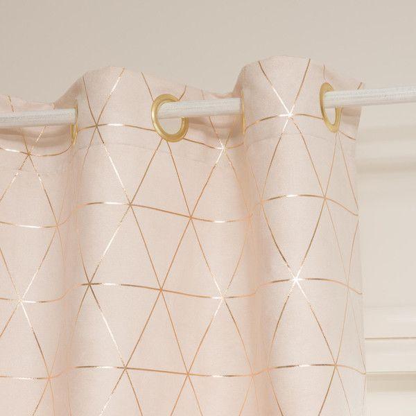 Ösenvorhang beige/goldfarben 135×250, 1 Vorhang
