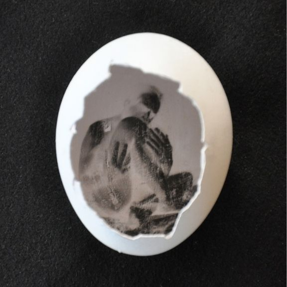 This is just the neatest, smartest thing. First, hollow out an egg with a hole on the side, put photographic emulsion on the inside, cover the egg, take it outside, then allow the egg to be uncovered.   Then you take it back inside, develop it (it's easy - the author explains how), remove part of the shell around the pin hole, and voilà! You have a photograph *inside the egg on the shell*.