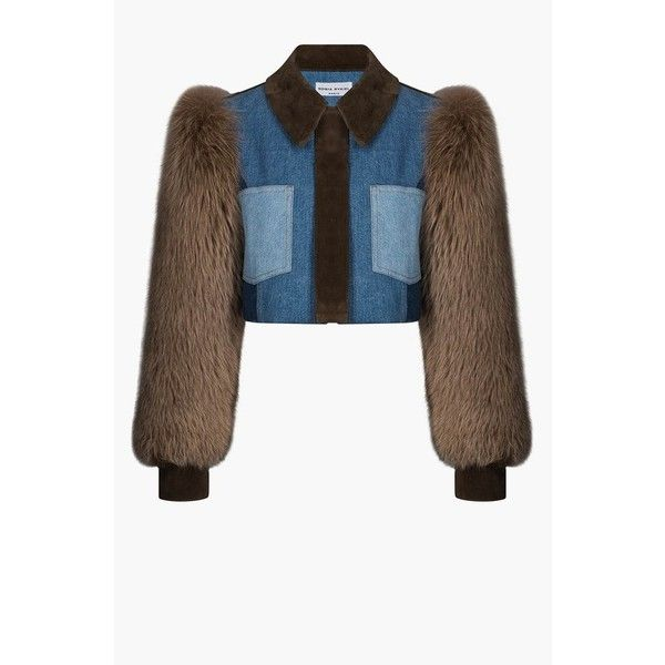 Sonia Rykiel Short Denim Jacket With Fur Sleeves (5.765 RON) ❤ liked on Polyvore featuring outerwear, jackets, denim, white denim jacket, jean jacket, white jacket, sonia rykiel and fur jacket