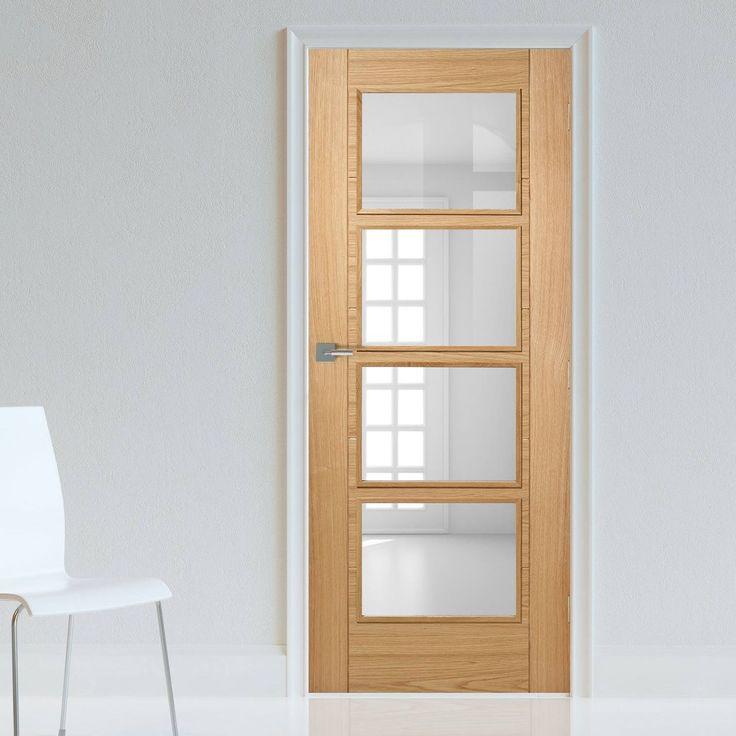 Bespoke Vancouver Oak 4L Fire Rated Door with Clear Glass - Prefinished.    #oakdoor #bespokedoor #firebespokedoor #glazeddoor #madetoorderdoor #internaldoor #modernonteriordoor #unusualsizedoor