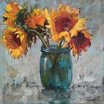 Sunflowers by susan hecht Oil ~ 30 x 30