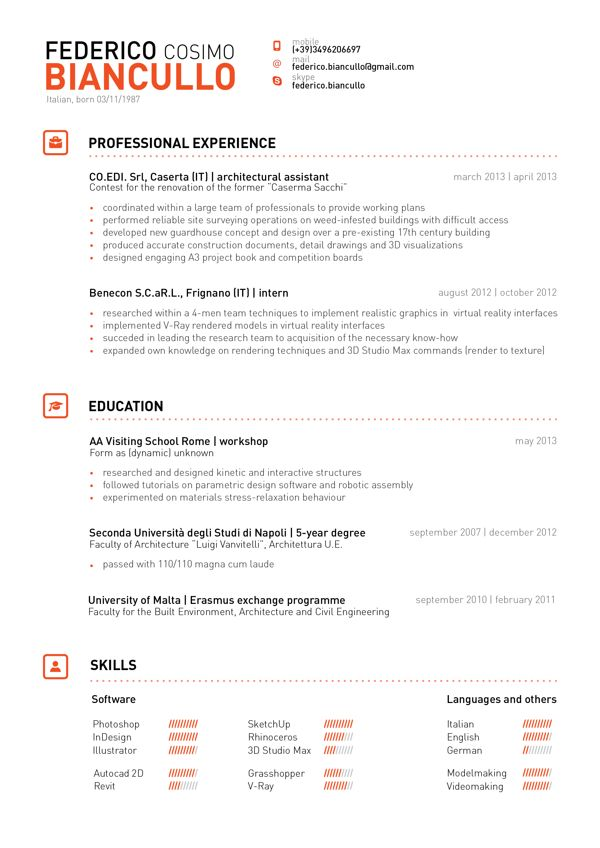 great clean lines and slick header structure of name on the top of this creative resume style good use of icons adheres to repetition principle without