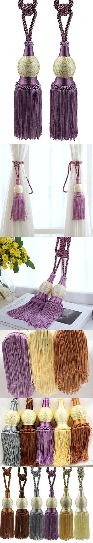 Kisstaker 1 Pair Window Curtain TieBacks Knitted Braided Curtain Cord Home Decor Window Treatments Purple
