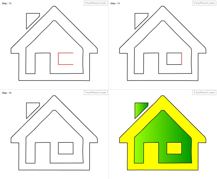 How to draw Home for kids step by step drawing tutorial, draw Home ...