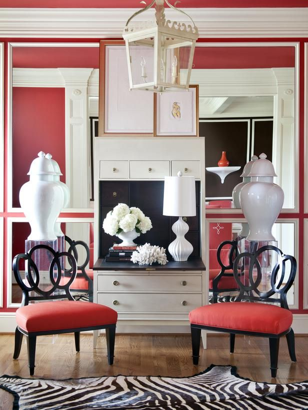 HGTV's June Color of the Month is Bold and Beachy (http://blog.hgtv.com/design/2014/06/02/hgtvs-june-color-of-the-month-is-bold-and-beachy/?soc=pinterest): Wall Colors, Colors Combos, Living Rooms, Idea, Red Wall, Zebras Rugs, Interiors Design, Toby Fairley, Red Black