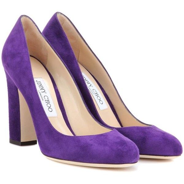 Jimmy Choo Billie 100 Suede Pumps (4,070 GTQ) ❤ liked on Polyvore featuring shoes, pumps, heels, purple, suede pumps, purple heel shoes, jimmy choo, jimmy choo shoes and purple pumps