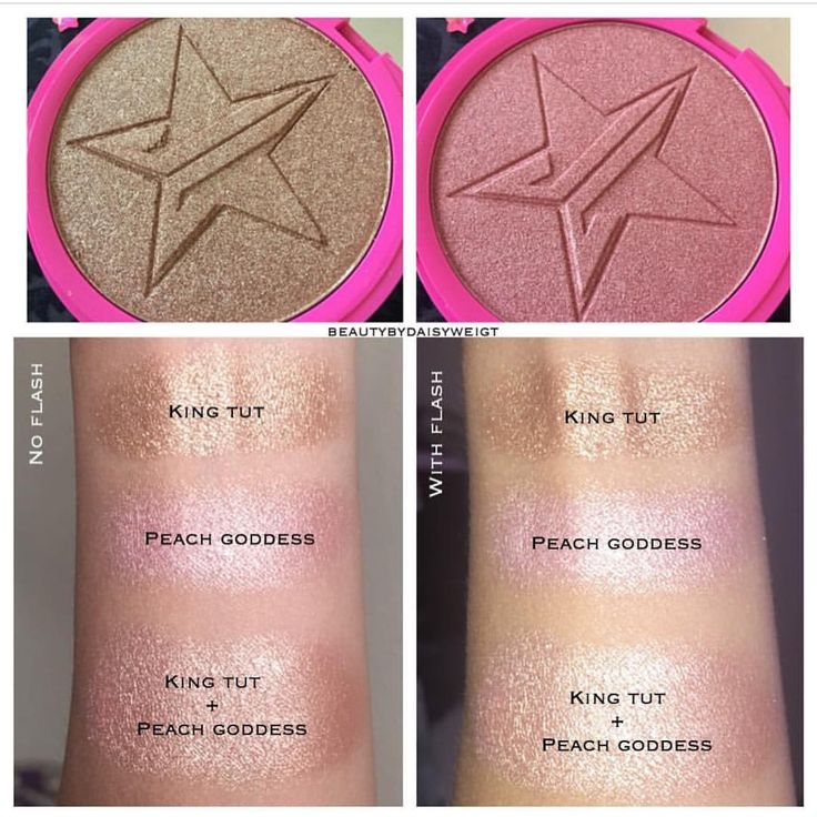"Jeffree Star Skin Frost in ""King Tut"" and ""Peach Goddess"" mixed makes the perfect rose gold highlight!"