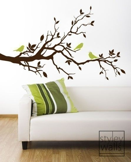 Tree Branch Wall Decal-Love Birds on Branch with Leaves - Vinyl Wall Decal Art