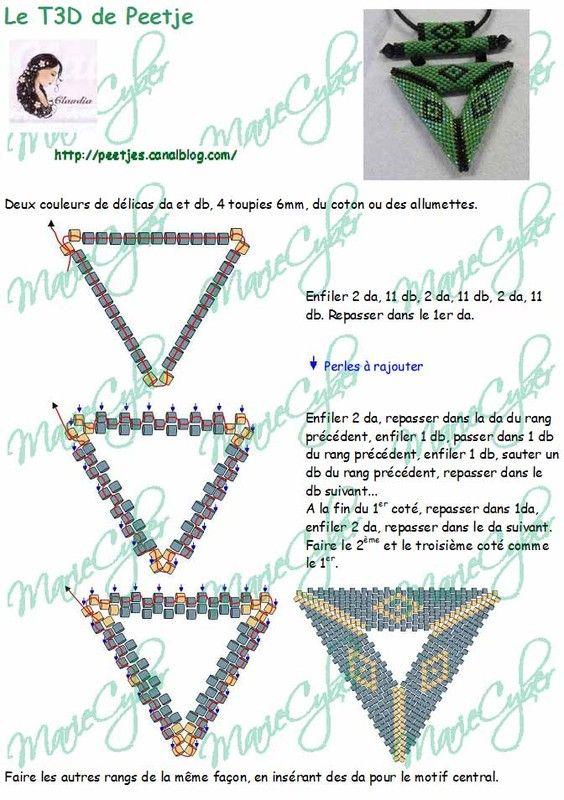 """creazioninpeyote: Schema triangolo peyote di """"Peetje"""". Se cercate su Internet ce ne sono svariati tipi, questo e' uno di quelli che mi piacciono di piu', ma se volete, una volta appresa la tecnica, potete modificarne la dimensione e il disegno. Buona creazione!"""