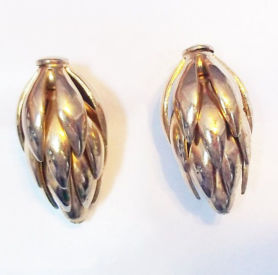 Vintage Napier Goldtone Thistle Clip On Earrings - Pine Cone Earrings - Artichoke Earrings - Designer Signed Earrings - Old Napier Jewelry