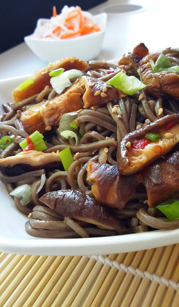 Soba Noodles with Shiitake Mushrooms - Cilantro and Citronella