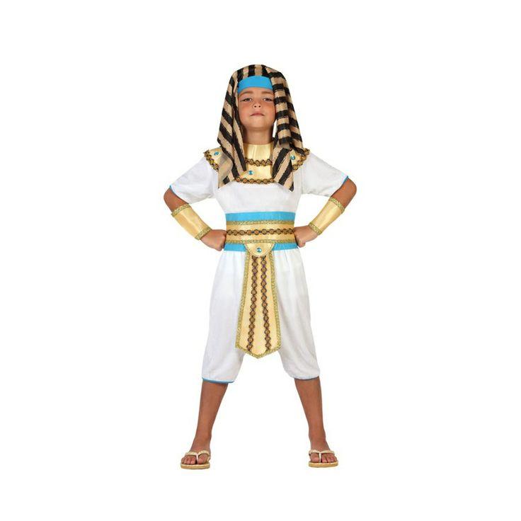 La manera más rápida, sencilla y económica de convertir a vuestros hijos en unos auténticos reyes del Antiguo Egipto. Este nuevo disfraz de egipcio para niño en color blanco y con decoración dorada y azul será una gran opción para festivales en el colegio o carnaval. Un disfraz extremadamente completo para realzar la fastuosidad de un monarca egipcio. #disfraces #carnaval