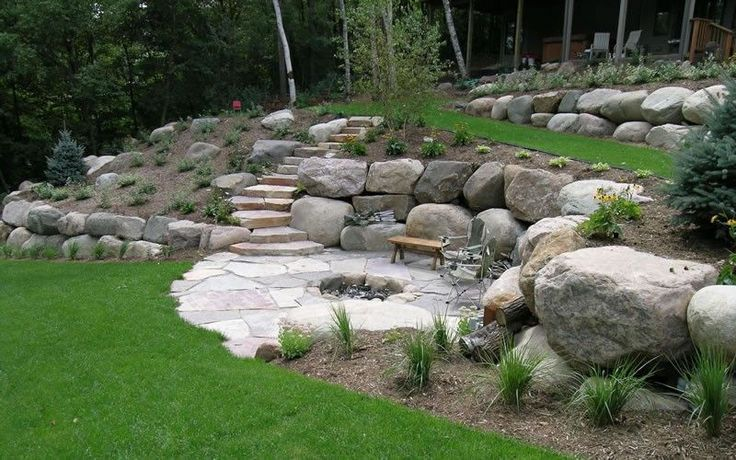 flagstone patio with firepit and built-in boulders - just lower level of borders would be great for built-in seating