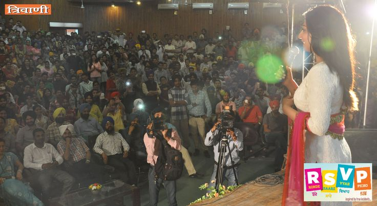 "Renowned actress Neeru Bajwa during "" RSVP - Ronde Saare Vyah Picho "" movie promotion at Guru Nanak Dev University, Amritsar. ( Events & PR by Trivani Media Consultancy Services )"