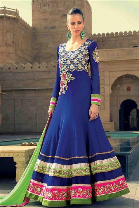Blue, Hot Pink Long Floor Length Georgette Anarkali Designer Suit