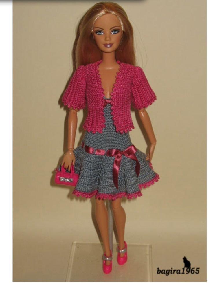 "Crocheted Barbie outfit - pink jacket, gray dress w/ pink ""belt."""