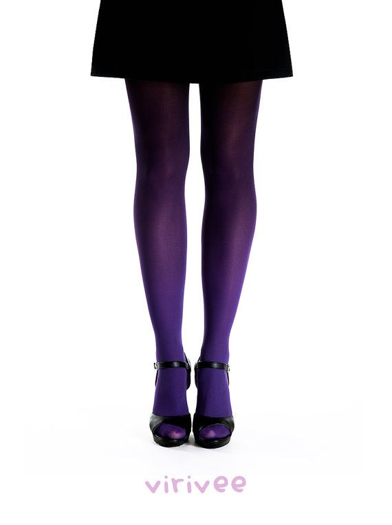 Ready to ship in 1-3 business days. Worldwide standard or express shipping available.  Hand dyed superb quality purple-black ombre tights. The material