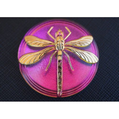 http://www.scarabeads.com/Glass-Buttons/Cabochon-buttons/Czech-Glass-Buttons-Pink-Green-Gold-Dragonfly-smooth-reverse-side-size-18