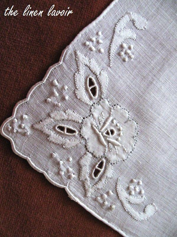 Madeira Vintage Handkerchief Bridal Wedding Hanky White Shadow Work Appliques
