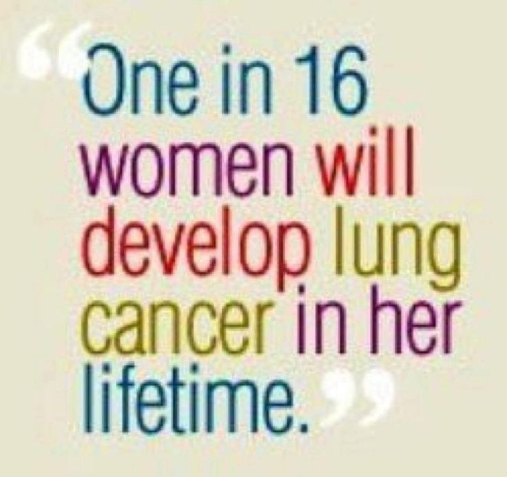 1 in 16 women will develop lung cancer in her lifetime. No, you do not have to smoke to get lung cancer.