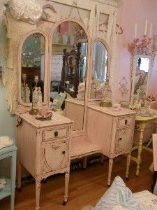 antique shabby chic vanity dressing table and...