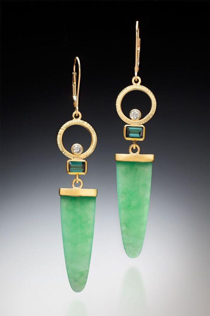 Sam Woehrmann, Chrysoprase Earrings, Gold, chrysoprase
