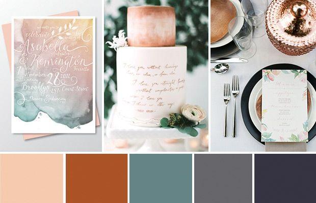Déco de mariage cuivrée et aquarelle pour une romance contemporaine