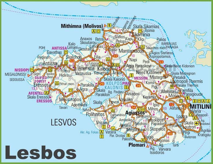 Lesbos tourist map