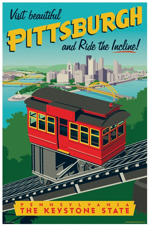 Vintage Style Pittsburgh Incline Travel Poster by RedRobotCreative