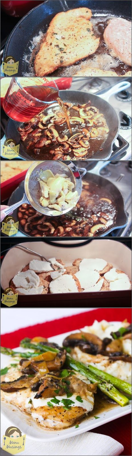 Family Style Chicken Madeira - with crimini mushrooms, artichoke hearts, and a delicious rich broth made of a reduction of broth, wine and herbs - oh MY!!! Step-by-step photo tutorial.