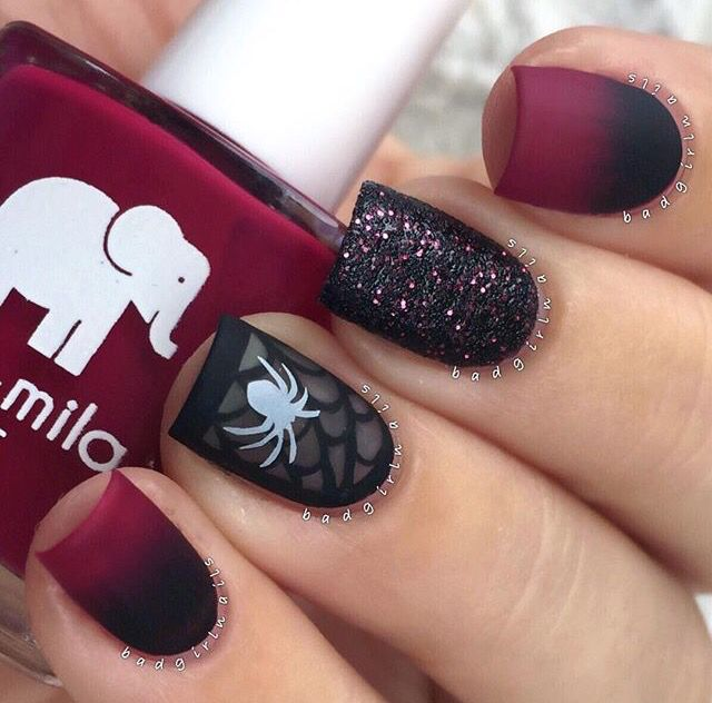 Elegant Halloween Nails with a Spooky Twist by Badgirlnails  | Red and Black Matte Gradient Nails with a Matte Spider + Web Ring Finger & Sparkle Accent Nail