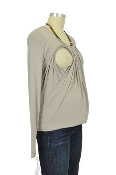 Sabina Long Sleeve Pleated Nursing Top in Light Taupe by MEV with free shipping $55