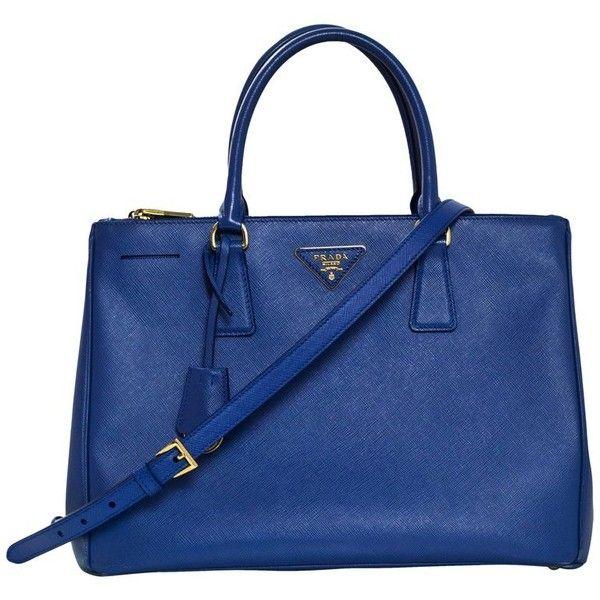 Preowned Prada Blue Medium Galleria Saffiano Leather Tote Bag W/ Strap ($1,230) ❤ liked on Polyvore featuring bags, handbags, tote bags, blue, totes, prada tote bag, prada purses, pocket tote, zip tote bag and saffiano leather tote