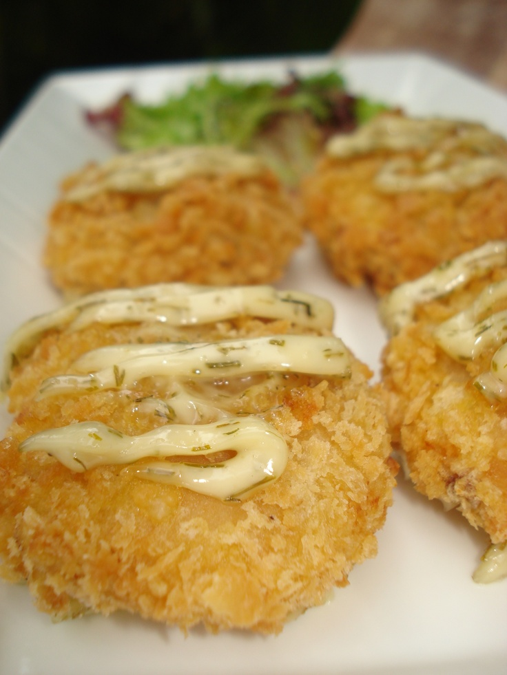 Fried Salmon Patties with a dill cream sauce #bali #bar #restaurant #food #lunch #dinner #kuta #tuban #indonesia