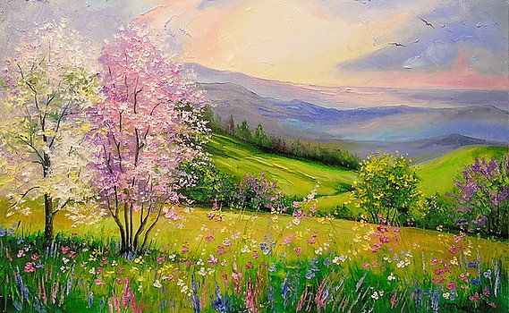 Spring In The Mountains By Olha Darchuk Mountain Art Print Spring Painting Spring Landscape