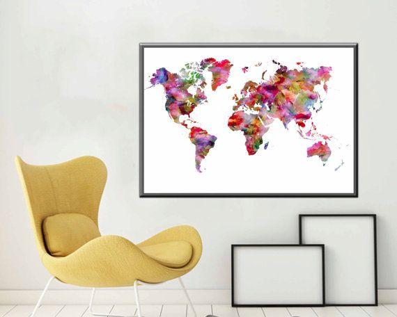 Large World Map Poster World Map Large Map Art World by DaniJArts