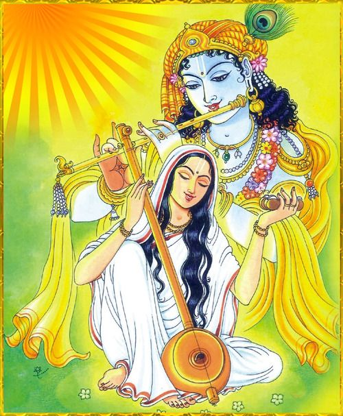 """""""My Lord Krishna, I love you above all others,"""" Mira sang """"My dear devotee, I understand and accept your love,"""" Krishna replied in his music. Mirabai singing Lord Krishna's praises. Jai Shree Krishna!"""
