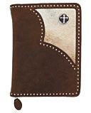 "10"" x 8"" x 2"", leather bible cover, zipper closure, edged in nail heads, with cow hair inlay and a Hidalgo cross concho. Brown. Fort Western Stores offers a huge selection of western wear and decor at low prices including cowboy hats, work wear, cowboy boots, saddles and tack."