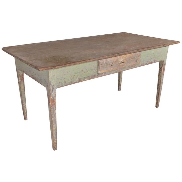 Gustavian period painted pine farm/work table, c. 1790 Sweden c.1790 Gustavian period painted pine farm/work table in the neoclassic style with straight tapered legs, and one apron drawer. It has great color and would make a good writing table.