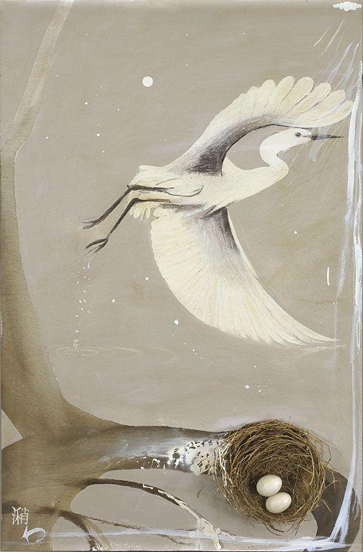 """Shao"" in 1978-79 by Brett Whiteley. Oil, nest and birds eggs on board."