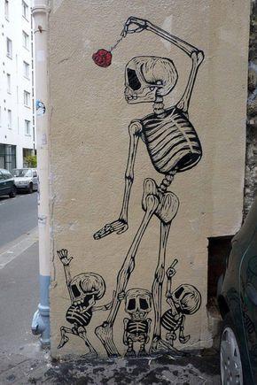 Funny Skeletons Street Art #art, #skeletons, #art, #bestofpinterest, https://facebook.com/apps/application.php?id=106186096099420