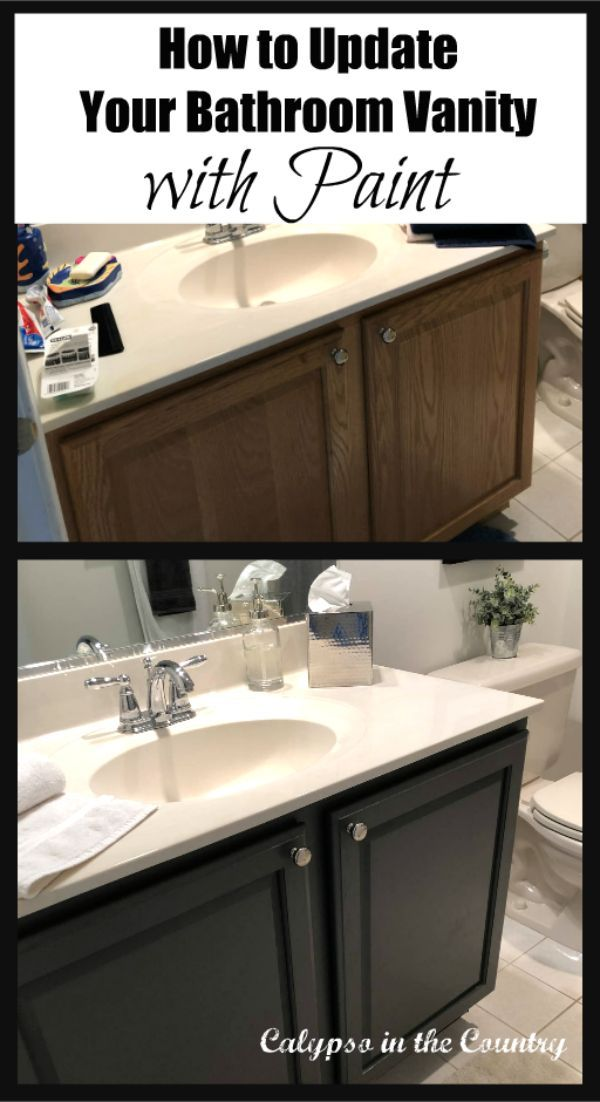 Before And After Painted Bathroom Cabinet Tips To Update A Bathroom Vanity Wit Bathroom Cabinet Makeover Painted Vanity Bathroom Painting Bathroom Cabinets